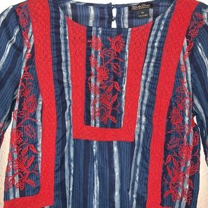 Lucky Brand Tops - Lucky Brand Embroidered Peasant Blouse